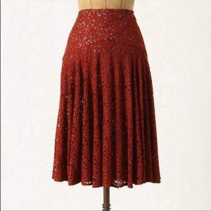 Anthro Moulinette Soeurs Drop Waist Lace Skirt
